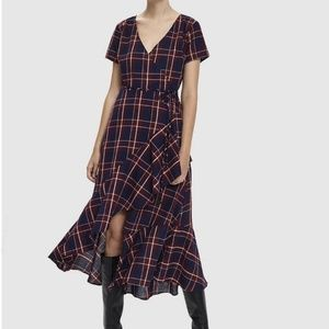 Stelen Maxine Plaid Wrap Dress in Burgundy. S